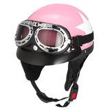 Retro- rosa Motorrad-halber Gesichts-Sturzhelm-Radfahrer-Roller mit Sonnenblende-UVschutzbrillen-Café-Rennläufer