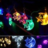 Bateria Operated 2.2M 20LEDs Moon Star Fairy String Light para festa Patio Christmas DC4.5V