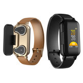 Bakeey bluetooth 5.0 Smart Wireless Dual Headphone Wristband Corazón Rate Monitor Reloj inteligente de larga espera