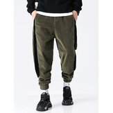 Mens Corduroy Side Stripe Draswstring Jogging Casual Pants With Pocket