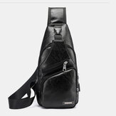 Men PU Leather Retro Solid Color With USB Charging Fashion Shoulder Bag Chest Bag