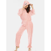 Women Flannel Eye Embroidery Hooded Zipper Front Elastic Waist Long Sleeve Home Pink Jumpsuits