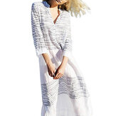 Women 3/4 Sleeve V Neck Striped Long Maxi Dress