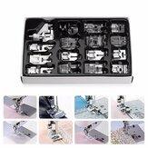 KCASA 16Pcs Máquina de coser doméstica Presser Foot Footet Kit Set Hem pie piezas de repuesto accesorios con Caja Para hermano cantante Janom