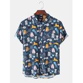 Herren Katze Halloween Dekoration Druck Kurzarm Casual Shirts