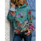 Women Butterfly Flower Print Long Sleeve Casual Pullover Hoodies