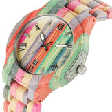 Deffrun Bamboo Colorful Couple Watch Unique Design Wooden Qu