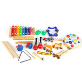 19 Pieces Set Orff Musical Instruments Toy Percussions Kit for Kids Music Learning/KTV Party Playing