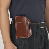 Men Genuine Leather Retro Solid Color 5.8 Inch Phone Bag Easy Carry Belt Bag Waist Bag