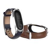 Mijobs Кожаный ремешок для часов Сменные часы Стандарты для Xiaomi Mi band 3 Smart Watch Неоригинальные