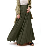 Casual Solid Color High Waist Pleated Irregular Hem Holiday Swing Maxi Skirts