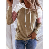 Frauen Patchwork Raglan Ärmel Casual Kangaroo Pocket Drawstring Hoodies