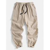 Férfi egyszínű 100% pamut állítható gombos mandzsetta húzó nadrág