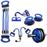 5PCS Exercise Tools Abdominal Wheel Footrest Stretcher Chest Push-ups Stand Body Fitness Trainer