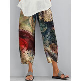 Vintage Floral Print Elastic Waist Irregular Hem Casual Pocket Pants For Women