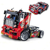 Decool 3360 608 pcs corrida truck car 2 em 1 modelo transformable building blocks toys diy toys com Caixa