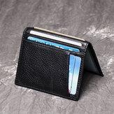 Carteira de bolso porta-cartão de licença masculina Couro Genuíno couro de vaca Caso