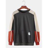 Mens Cotton Color Block Stitching Applique Lässige Tasche Tasche Rundhalsausschnitt Sweatshirts