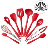 10 PCS Silicone Ustensiles de Cuisine Ustensiles de Cuisine Set Vaisselle Outils de Cuisine avec Anti-Adhésif Ustensiles de Cuisson Pan Scoops