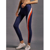 Kvinder Rainbow Stripe High Elastic Waist Running Leggings