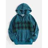 Korduroy Plaid Patchwork Mens Kangaroo Pocket Drawstring Hoodies för män