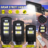 100/200/300COB LED Solar Street Light PIR Motion Radar Sensor Outdoor Wall Lamp+Remote Control