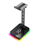 JIUSHARK JSR-1 RGB Headphone Stand Headset Holder with 3 USB Ports 1 Type-c Aluminum Alloy Multi-functional Base