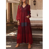 Women Plaid Print V-Neck Button Long Sleeve Vintage Maxi Dresses With Pocket