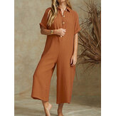 Women Solid Color V-neck Short Sleeve Cotton Jumpsuit Overalls For Women