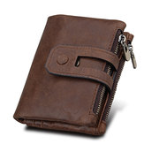 RFID Blocking Secure Wallet 11 Card Slots Vintage Genuine Leather Mens Zipper Wallet