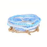 Bracelet Bohémien Feuilles Chaîne Bracelets Beads Multilayer pour Femmes