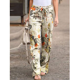 Women High Elastic Waist Floral Print Belted Side Pocket Vintage Pants