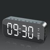 Alto-falante sem fio bluetooth Mini LED Alarme duplo Relógio Rádio FM Cartão TF AUX Soundbar Subwoofer com microfone