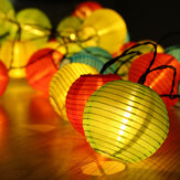 10/20/30/50LED Solar Lantern String Lights Waterproof Garden Lantern String Lights Fair Lights with Fabric Lantern Exterior and Interior Decoration for Christmas Garden Home Yard