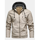 Mens in pelle PU Plus giacche con cappuccio addensate con cerniera in velluto con tasche a filetto con zip