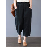 Women Cotton Loose Harem Pants with Pockets