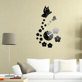 Honana DX-X7 Creative Butterfly 3D Acrylic Mirror Wall Sticker Quartz Clocks Watch Large Home Decor