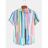 Mens Striped Print Gradient Light Casual Short Sleeve Shirts