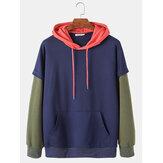 Heren colorblock patchwork losse casual doktersmouwen hoodies met mofzak
