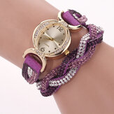 DUOYA D014 Rhinestones Elegant Ladies Watch Leather Strap Bracelet Watches