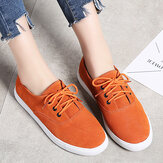 Women Comfy Suede Wearable Lace Up Casual Flats