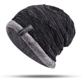 Herren Plus Velvet Knitted Stripe Beanie Hüte Outdoor Winter Warme Skullcap Beanies