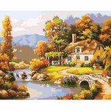 Oil Painting By Number Kit Bridge River Cottage Landscape Painting DIY Acrylic Pigment Painting By Numbers Set Hand Craft Art Supplies Home Office Decor