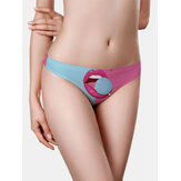 Women Two-Tone Mouth Print Low Rise Seamless Breathable Panties