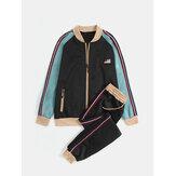Mens Vintage Contrast Color Zipper Jacket Jogging Pants Two-Piece Sports Sets