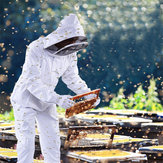 Professional Cotton Full Body Beekeeping Bee Keeping Clothing Tools Set w/ Veil Hood L/XL/XXL