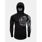 Mens Mysterious Totem Print High Neck Cover Face Design Hoodies