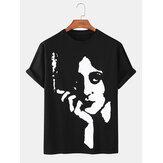 コットンデザインの抽象フェイスプリント通気性のあるラウンドネック半袖Tシャツ