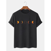 Cotton Designer Lunar Eclipse Print Breathable Short Sleeve T-Shirts