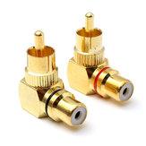 2pcs de bronze adaptador RCA ângulo direito masculino para conector fêmea
